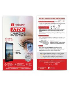 Reticare screens for SMARTPHONES, decreases visual fatigue avoids risk of associated eye diseases.