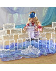 Plastic Cuboidal Ice Bricks with Glacier Effect